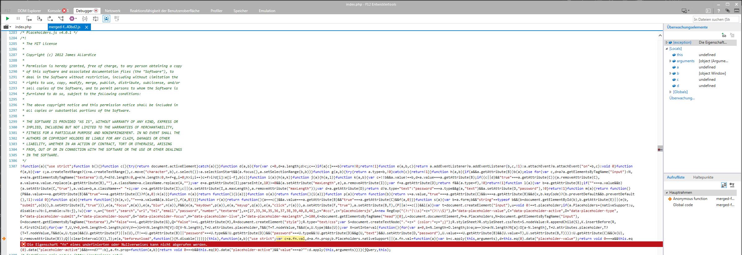 Bug #76463: JavaScript errors and no RTE in IE11 - TYPO3 Core