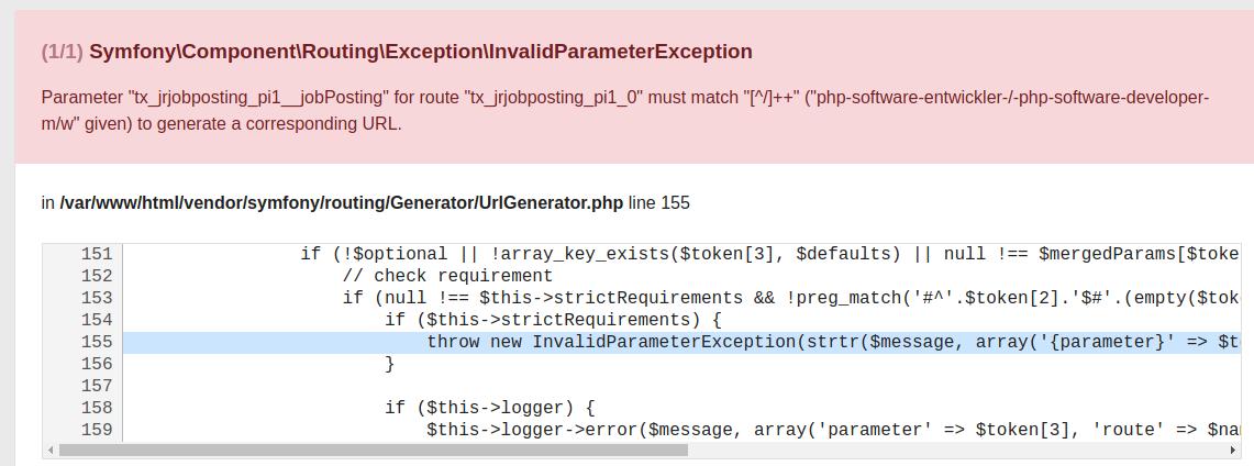 Bug #86740: Using slash in slug in extension record throws exception