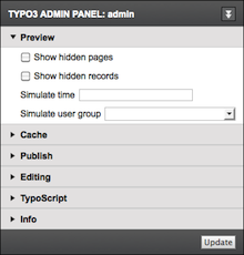Screen shot Admin Panel